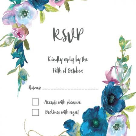 Blue Floral - RSVP