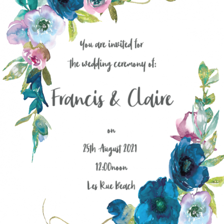 Blue Florals - Save The Date