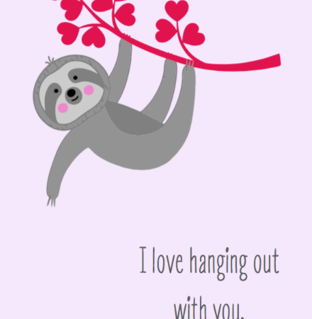 Sloth heart swinging branch
