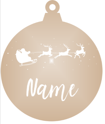 Add a Name : Santa & Reindeer - Bronze mirror ornament