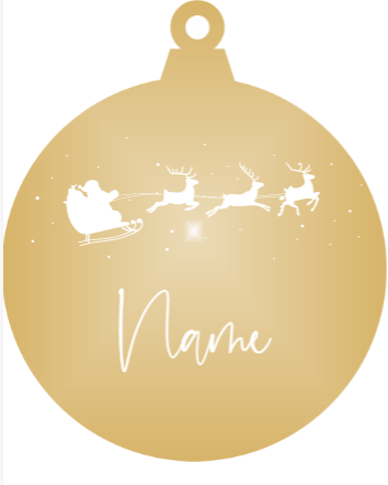 Add a Name : Santa & Reindeer - Gold mirror ornament