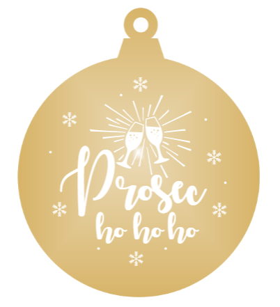 Prosec-ho-ho-ho - Gold mirror ornament