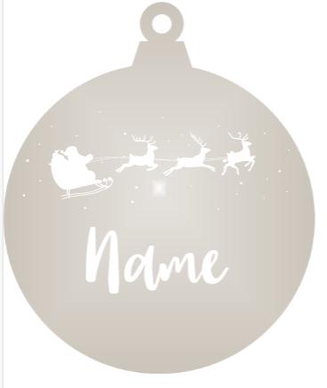 Add a Name : Santa & Reindeer - Silver mirror ornament